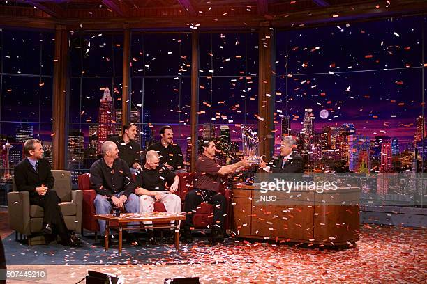 Actor Kiefer Sutherland and Anaheim Angels John Lackey Scott Spiezio Troy Percival David Eckstein and Tim Salmon during an interview with host Jay...