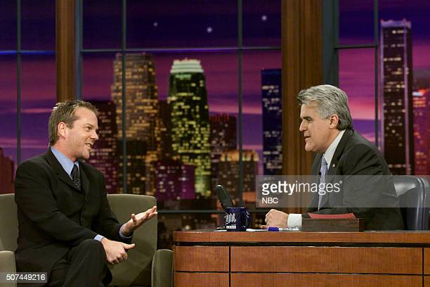 Actor Kiefer Sutherland during an interview with host Jay Leno on October 28 2002