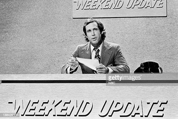 LIVE Episode 24 Air Date Pictured Chevy Chase as himself during the 'Weekend Update' skit on July 31 1976