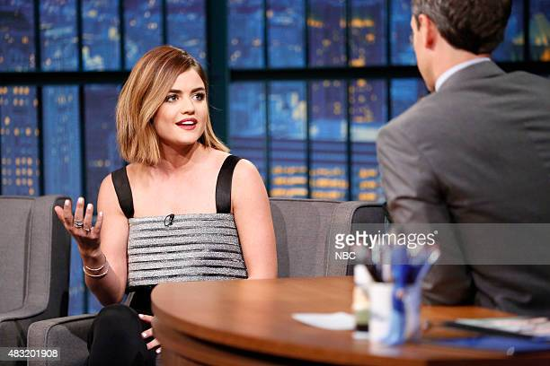 Actress Lucy Hale during an interview with host Seth Meyers on August 6 2015