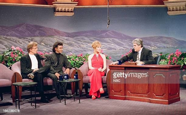 Actor Ted Danson Musical guest Johnny Mathis Talk show host Leeza Gibbons during an interview with host Jay Leno on June 11 1993