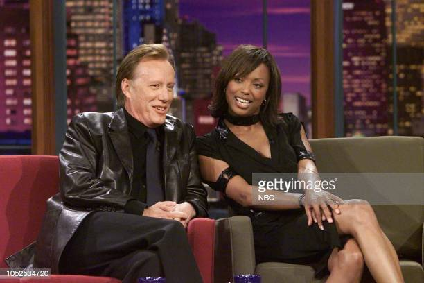 Actor James Woods and actress Aisha Tyler during an interview on March 27 2003