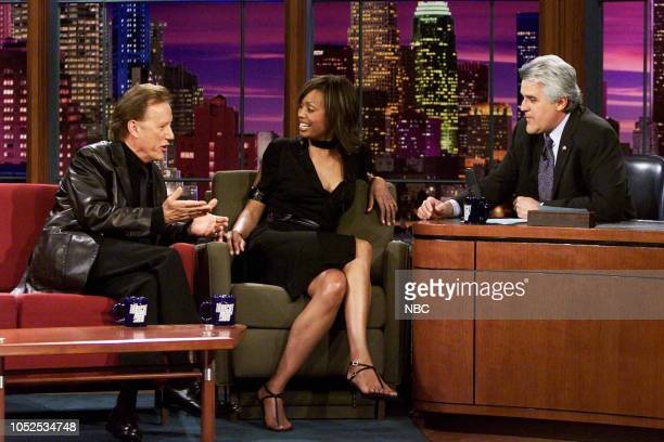 Actor James Woods and actress Aisha Tyler during an interview with host Jay Leno on March 27 2003