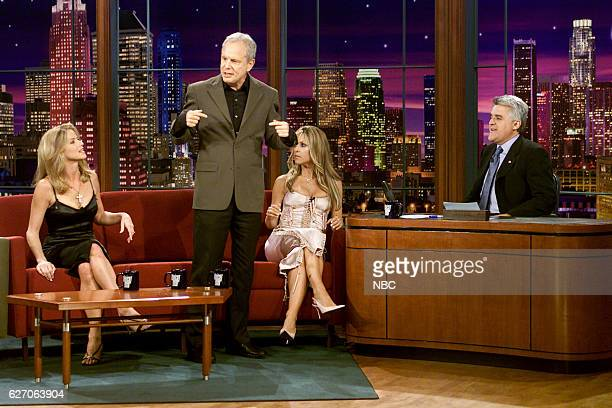 Television personalities Dorothy Lucey Steve Edwards and Jillian Barberie during an interview with host Jay Leno on April 1 2003