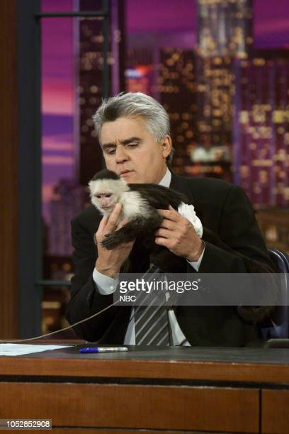 Host Jay Leno during an animal segment on May 1 2003