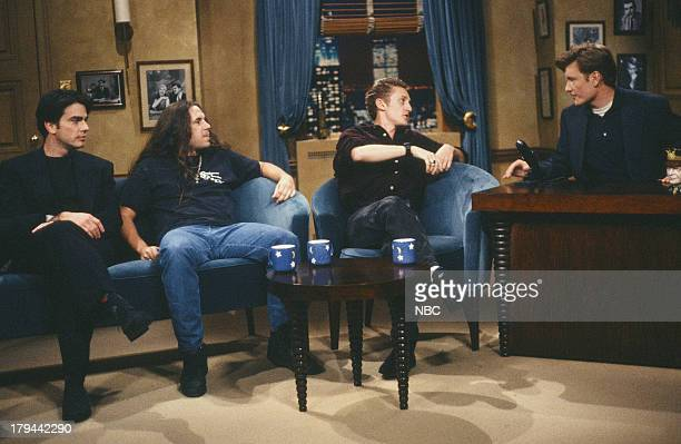 Actor Peter Gallagher television writer and radio personality John Melendez actor Alex Winter during an interview with host Conan O'Brien on October...