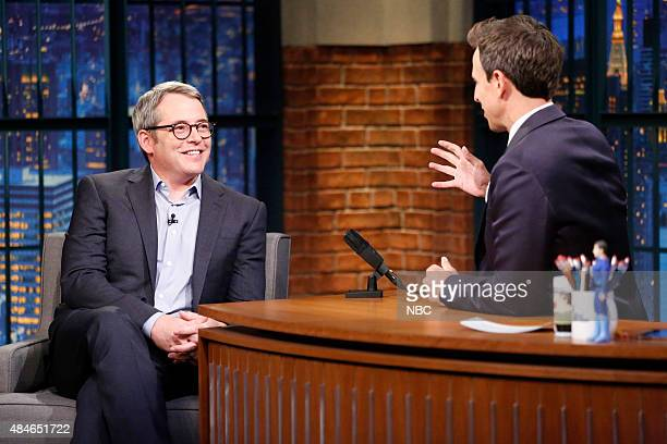 Actor Matthew Broderick during an interview with host Seth Meyers on August 20 2015