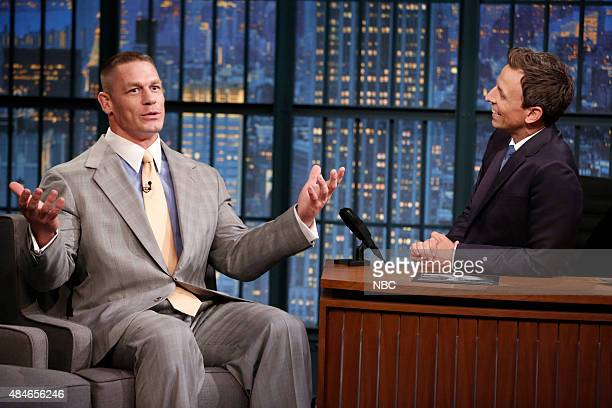 WWE's John Cena during an interview with host Seth Meyers on August 20 2015
