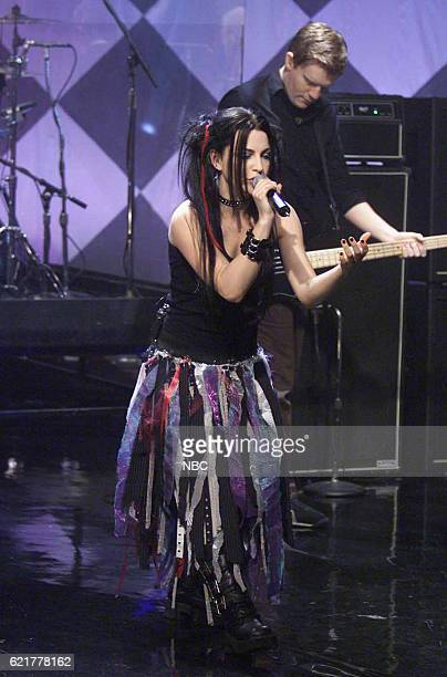 Lead singer Amy Lee and guitarist Will Boyd of musical guest Evanescence perform on July 8 2003
