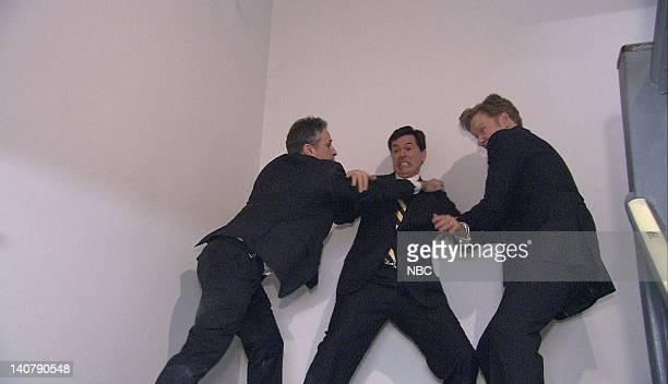 BRIEN Episode 2521 Air Date Pictured John Stewart Steven Colbert and host Conan O'Brien on February 4 2008 Photo by Dana Edelson/NBCU Photo Bank
