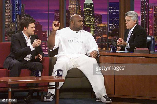 Actor Ben Affleck and professional kickboxer Bob Sapp during an interview with host Jay Leno on August 11 2003