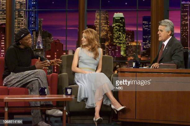 Actor Samuel L Jackson and actress Alyson Hannigan during an interview with host Jay Leno on August 1 2003