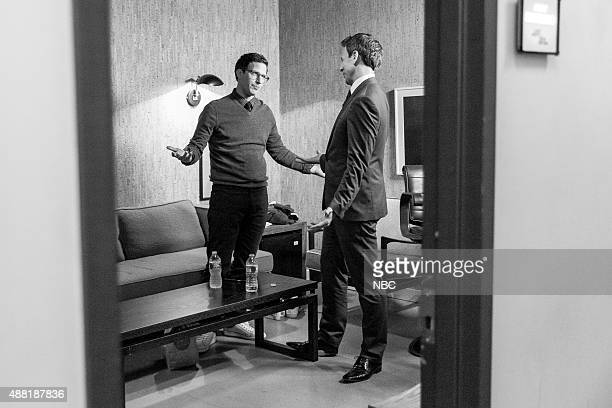 MEYERS Episode 255 Pictured Actor Andy Samberg talks with host Seth Meyers backstage on September 10 2015