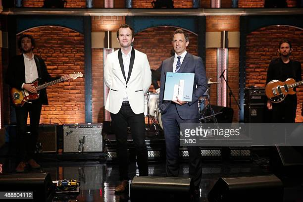 Chris Baio of musical guest Baio with host Seth Meyers on September 17 2015