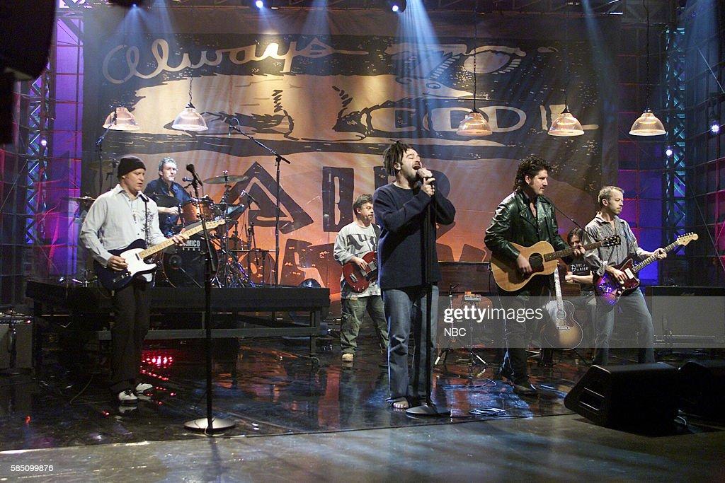 Musicians Dan Vickrey, Jim Bogios, Matt Malley, Adam Duritz, David Immergluck, Charlie Gillingham, and David Bryson of rock band Counting Crows perform --