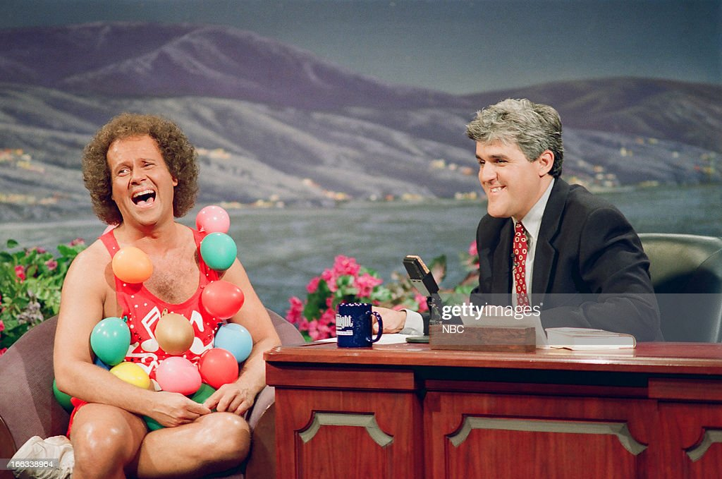 Fitness personality Richard Simmons during an interview with host Jay Leno on July 12, 1993--