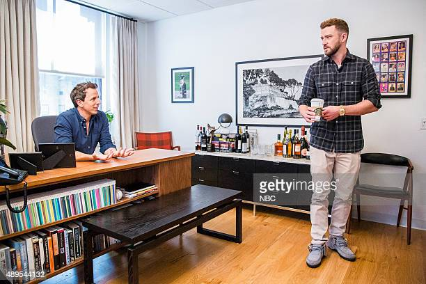 Host Seth Meyers and Justin Timberlake during a skit on September 21 2015