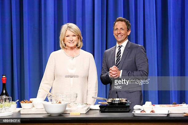 Martha Stewart and host Seth Meyers during a cooking segment on September 21 2015