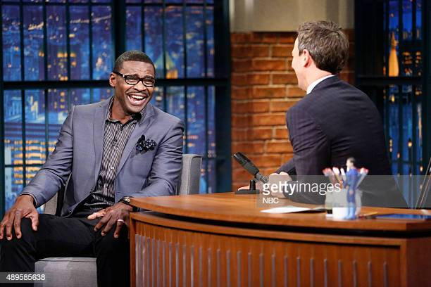 Former football player Michael Irvin during an interview with host Seth Meyers on September 22 2015