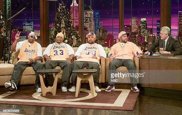 Musical guests Nate Dogg WC Mack 10 Ice Cube of Westside Connection during an interview with host Jay Leno on December 30 2003