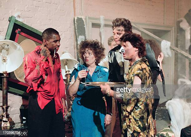 Bandleader Branford Marsalis actress Judy Nazemetz announcer Edd Hall during Miracle Nose skit on July 14 1993