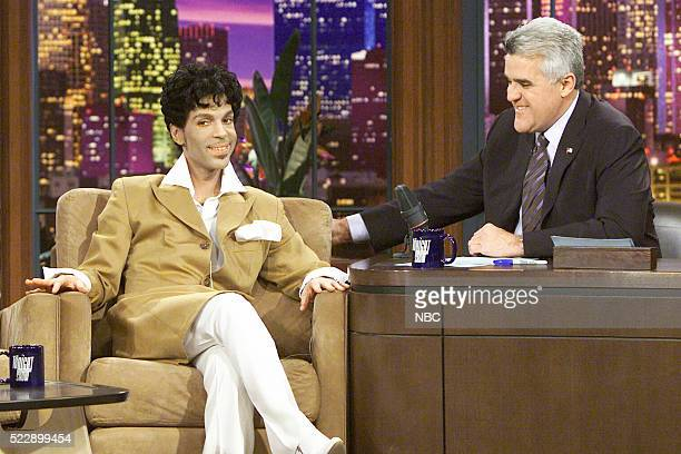Artist Prince during an interview with host Jay Leno on February 26 2004