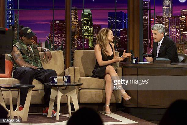 Professional basketball player Dennis Rodman and actress Lindsay Lohan during an interview with host Jay Leno on April 20 2004