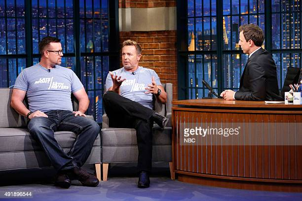 Baseball analyst Sean Casey and Kevin Millar during an interview with host Seth Meyers on October 8 2015