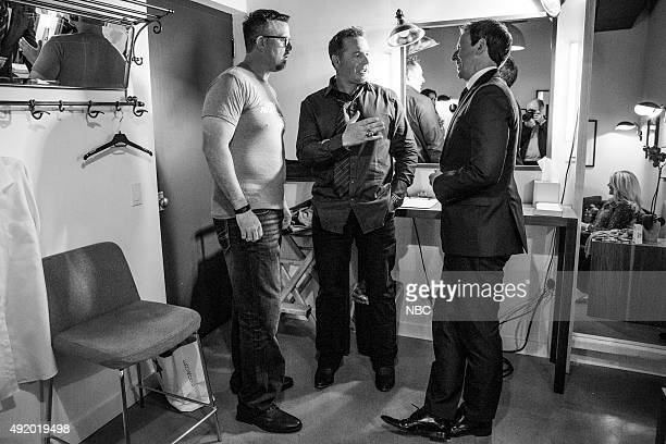 MEYERS Episode 272 Pictured Baseball analyst Sean Casey and Kevin Millar talk with host Seth Meyers backstage on October 8 2015