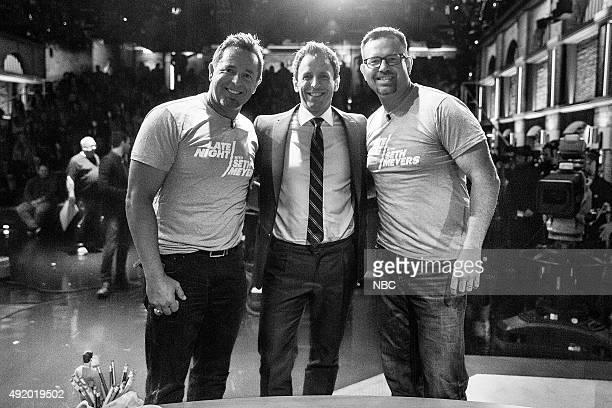 MEYERS Episode 272 Pictured Baseball analyst Sean Casey and Kevin Millar with host Seth Meyers during a commercial break on October 8 2015