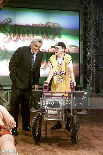 Host Jay Leno and a participant during the 'Summer Products' segment on June 10 2004