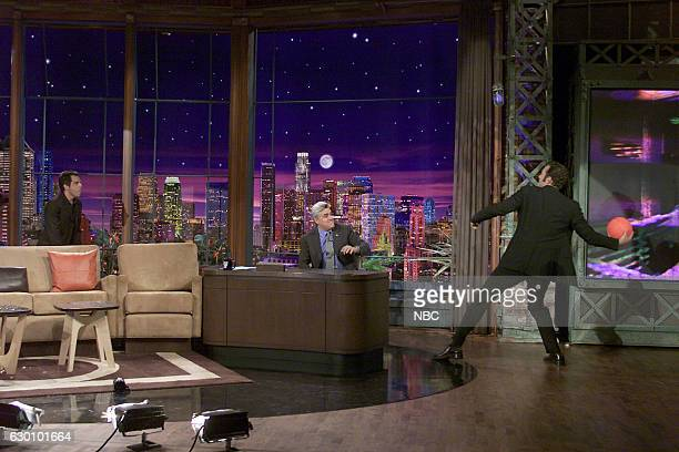 Actor Ben Stiller during an interview with Jay Leno and actor Vince Vaughn on June 23 2004