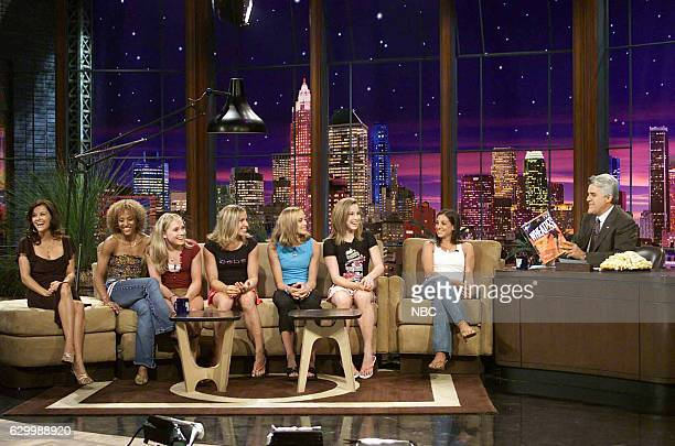 Episode 2767 -- Pictured: Actress Reese Witherspoon with the 2004 U.S. Woman's gymnastic team Annia Hatch, Courtney McCool, Terin Humphrey, Courtney...