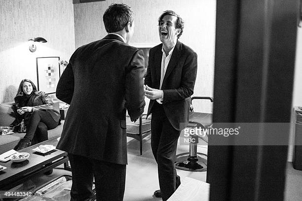 MEYERS Episode 277 Pictured Host Seth Meyers talks with actor Clive Owen backstage on October 26 2015