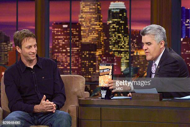 Episode 2790 -- Pictured: Professional skateboarder Tony Hawk during an interview with host Jay Leno on October 1, 2004 --