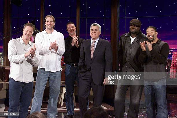Professional baseball players Alan Embree Derek Lowe Mike Timlin David Oritz and Dave Roberts during an interview with host Jay Leno on November 1...