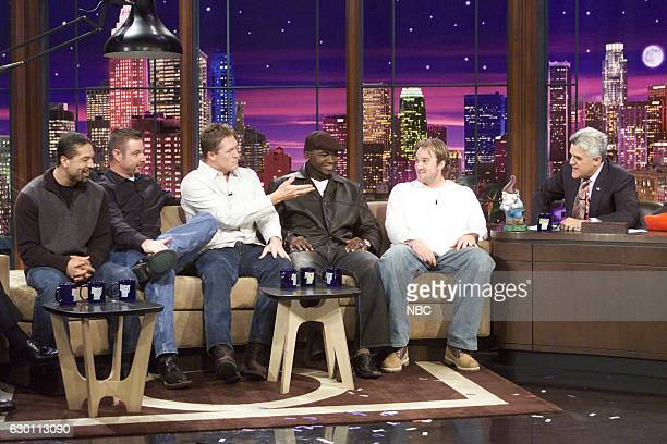 Professional baseball players Dave Roberts Alan Embree Mike Timlin David Oritz and Derek Lowe during an interview with host Jay Leno on November 1...