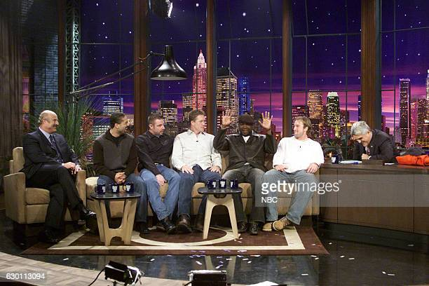 Television personality Dr Phil with professional baseball players Dave Roberts Alan Embree Mike Timlin David Oritz and Derek Lowe during an interview...