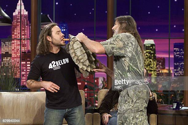 Comedian Chris Pontius and an animal trainer during an interview on November 5 2004