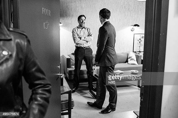 MEYERS Episode 281 Pictured Actor Jon Hamm talks to host Seth Meyers backstage on November 2 2015