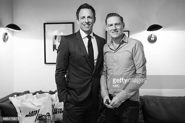 MEYERS Episode 281 Pictured Host Seth Meyers with musical guest Bryan Adams backstage on November 2 2015