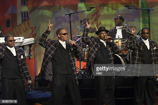 Ralph Tresvant Johnny Gill Michael Bivins and Ricky Bell of musical guest New Edition perform on November 18 2004