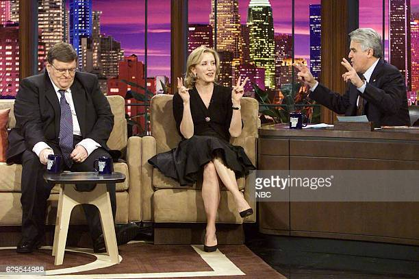 Director Michael Moore and actress Felicity Huffman during an interview with host Jay Leno on November 29 2004