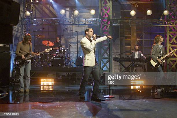 Mickey Madden Matt Flynn Adam Levine Jesse Carmichael and James Valentine of musical guest Maroon 5 perform on December 7 2004