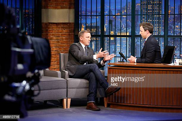 Actor Daniel Craig during an interview with host Seth Meyers on November 5 2015
