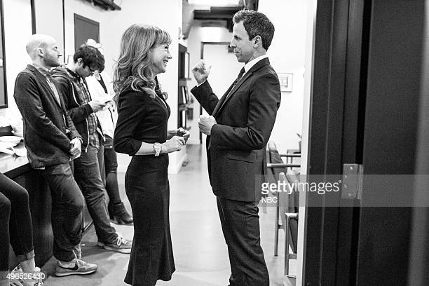 MEYERS Episode 285 Pictured Comedian Kathy Griffin talks with host Seth Meyers backstage on November 9 2015