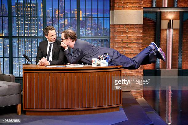 Actor Rainn Wilson during an interview with host Seth Meyers on November 10 2015