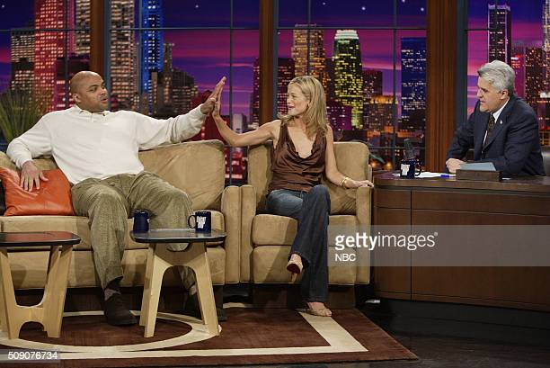Basketball player Charles Barkley and model Carolyn Murphy during an interview with host Jay Leno on February 16 2005