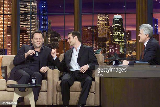 Actor Vince Vaughn and race car driver Jeff Gordon during an interview with host Jay Leno on February 23 2005