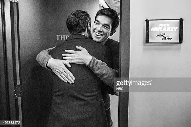 MEYERS Episode 291 Pictured Host Seth Meyers and comedian John Mulaney backstage on November 18 2015